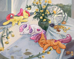 apple_bloom cutie_mark_crusaders flowers mirroredsea parody scootaloo sergey_novosadzhuk sleeping sweetie_belle table vase