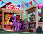 background_ponies balloon basket carrot golden_harvest harwick highres magic marble_pie market princess_twilight rock spike twilight_sparkle