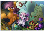 apple_bloom cutie_mark_crusaders dragon flowers leavingcrow scootaloo sweetie_belle