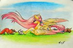 cloud-dash deer fluttershy fox rabbit traditional_art