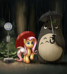 angel conicer fluttershy highres japanese my_neighbor_totoro rain totoro umbrella