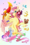 absurdres butterfly djspark3 flowers fluttershy highres philomena rabbit squirrel