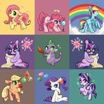 applejack apples balloon bow butterfly cloud feather fluttershy gems glasses highres main_six phyllismi pinkie_pie princess_twilight rainbow rainbow_dash rarity scroll spike starlight_glimmer twilight_sparkle zap_apples