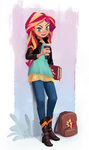ajvl bag book equestria_girls highres humanized sunset_shimmer