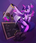 absurdres chalkboard darkflame75 highres labcoat magic princess_twilight rock science telescope test_tube twilight_sparkle