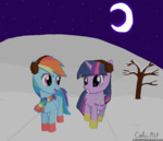 boots colinmlp earmuffs rainbow_dash scarf snow twilight_sparkle winter