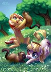 cat flowers grass highres holivi original_character trees