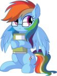 absurdres book cyanlightning glasses highres rainbow_dash vector