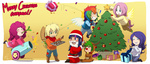antlers applejack cannon chibi christmas christmas_tree costume fluttershy hat hazurasinner highres main_six pinkie_pie present rainbow_dash rarity red_nose reindeer santa santa_hat spike transparent twilight_sparkle