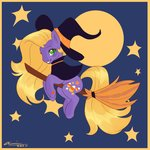 abra-ca-dabra broom broomstick fat-bot g3 hat highres moon stars witch