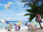 applejack beach breaking_the_fourth_wall derpy_hooves fluttershy lyra_heartstrings main_six mixermike622 photoshop pinkie_pie princess_celestia princess_luna rainbow_dash rarity sweetie_drops tree twilight_sparkle wink zecora