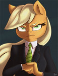 anthro applejack atane27 missing_hat serious_business suit tie