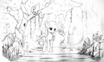 butterfly forest freeedon highres original_character reflection rock sketch squirrel trees water