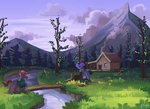 bridge clothes hat highres house log mountain original_character saxopi scenery stream tree