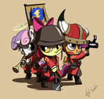 apple_bloom atryl costume crossover cutie_mark_crusaders gun hat scootaloo shovel soldier sweetie_belle team_fortress_2 trumpet weapon