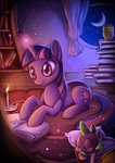 book candle highres moon nighttime owlowiscious sleeping spike sprucie twilight_sparkle