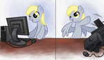 blackfeathr computer derpy_hooves highres looking_at_the_place_which_shall_not_be_named reaction_image