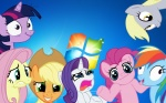 applejack artist_unknown derpy_hooves fluttershy highres main_six pinkie_pie rainbow_dash rarity twilight_sparkle wallpaper windows_vista
