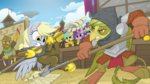 armor derpy_hooves equestria-prevails griffon halberd highres original_character raindrops sparkler trident