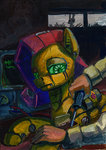 angel fluttershy humanized lexx2dot0 robot traditional_art