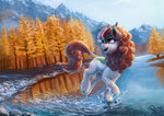 autumn autumn_blaze highres kirin mountain nemo2d scenery tree