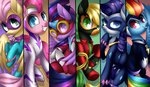 absurdres applejack costume fillisecond fluttershy highres main_six masked_matterhorn mistress_marevelous pinkie_pie power_ponies radiance rainbow_dash rarity saddle_rager scarlet-spectrum twilight_sparkle zapp