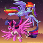 absurdres cloud flying highres nighttime princess_twilight rainbow_dash thenornonthego twilight_sparkle