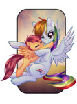 hugs rainbow_dash rizcifra scootaffection scootaloo