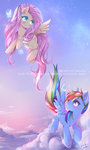absurdres butterfly cloud flowers flutterdash fluttershy flying goggles highres odaefnyo rainbow_dash shipping