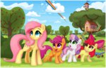 apple_bloom cloud ctb-36 cutie_mark_crusaders fluttershy rainbow_dash scootaloo scooter sweet_apple_acres sweetie_belle
