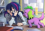 absurdres dog equestria_girls highres humanized riza23 science_twilight spike twilight_sparkle