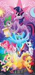 absurdres angel applejack fluttershy highres main_six pinkie_pie rainbow_dash rarity sambaneko scroll spike twilight_sparkle