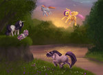 flowers fluttershy grass precia-t rainbow_dash rarity stream sweetie_belle trees twilight_sparkle water