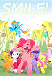 apple_bloom applejack confetti cranky_doodle_donkey cutie_mark_crusaders derpy_hooves fluttershy highres hobilo lyra_heartstrings main_six matilda pinkie_pie rainbow_dash rarity scootaloo smile sweetie_belle sweetie_drops text time_turner twilight_sparkle