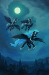 asimos bat_pony flying guard_pony highres kirillk moon nightmare_moon nighttime original_character trees