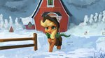 absurdres applejack hierozaki highres scarf snow sweet_apple_acres