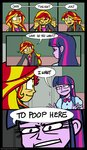 comic equestria_girls highres humanized parody sunset_shimmer text the_most_popular_girls_in_school twilight_sparkle zicygomar
