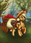 applejack apples cart highres trees xaneas