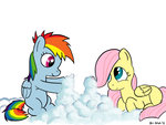 art-anon bipedal cloud filly fluttershy i_shall_not_use_my_hooves_as_hands rainbow_dash
