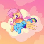 cloud flutterdash fluttershy highres ponett rainbow_dash shipping