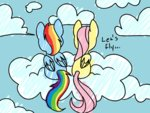 Post 66128, tags: animated, applejack-lover-fan, cloud, fluttershy, rainbow_dash, rating:Safe, score:5, user:Grue