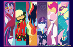 applejack betweenfriends costume fluttershy main_six pinkie_pie power_ponies rainbow_dash rarity twilight_sparkle
