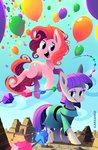 balloon candy highres karzahnii maud_pie pinkie_pie