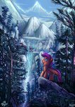 absurdres birds forest highres jowybean mountain scootaloo waterfall