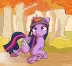 alasou autumn hat highres leaf princess_twilight twilight_sparkle