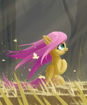 butterfly emeraldgalaxy fluttershy highres trees