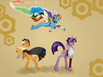 applejack cape goggles hat rainbow_dash steampunk tomat-in-cup twilight_sparkle