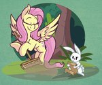 angel broom fluttershy highres modularpon scroll tree