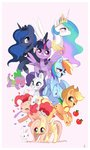 angel applejack apples carrot fluttershy highres ipun main_six pinkie_pie princess_celestia princess_luna princess_twilight rainbow_dash rarity spike twilight_sparkle watermark