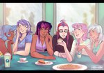 cookie demdoodles humanized lemon_hearts lyra_heartstrings minuette moondancer pie tea twilight_sparkle twinkleshine